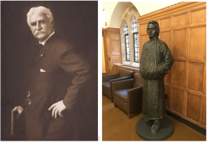 """左:著名牧师、作家Joseph Hopkins Twichell,1859年耶鲁大学毕业,是马克吐温的挚友,马克吐温作品《in A Tramp Abroad》中人物 Harris 的原型。 右:耶鲁大学图书馆(Sterling Library)内的容闳塑像。容闳 (Yung Wing) ,""""中国留美幼童""""项目创始人,1854年耶鲁大学毕业,是中国近代首位留美学生,耶鲁首位华人学生。"""
